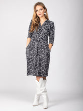 Load image into Gallery viewer, 3/4 Sleeve Wrap Front Midi Dress, White Spot