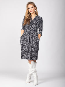 3/4 Sleeve Wrap Front Midi Dress, White Spot