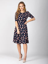 Load image into Gallery viewer, Sample Sale -Half Sleeve Midi Dress, Navy Spot