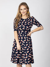 Load image into Gallery viewer, Flared Puff Sleeve Midi Dress, Navy Spot