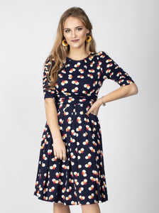 Flared Puff Sleeve Midi Dress, Navy Spot