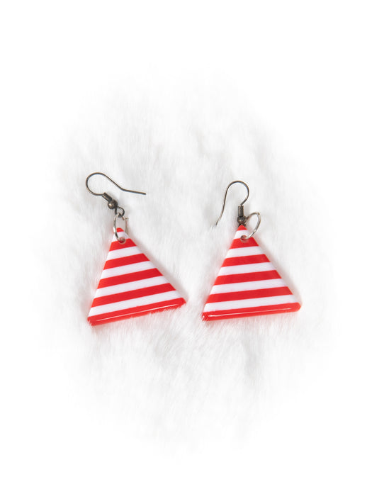 Red and White Stripe Triangle Earrings