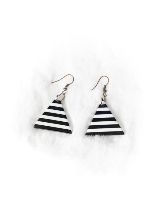 Black and White Stripe Triangle Earrings