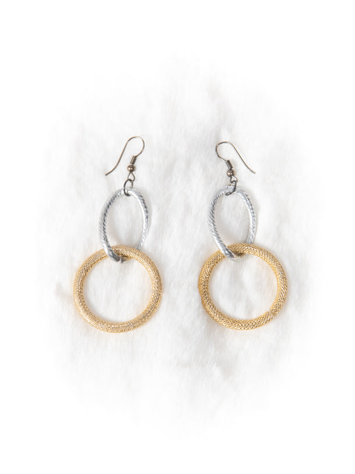 Silver and Gold Link Earrings