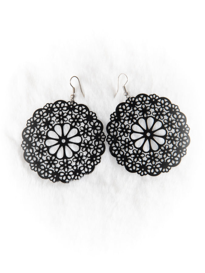 Black Lace Doily Earrings