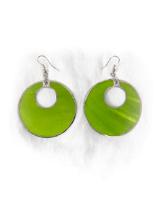 Shiny Lime Green Hoop Earrings