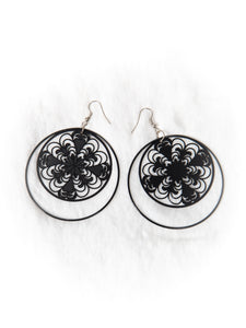 Black Floral Double Hoop Earrings