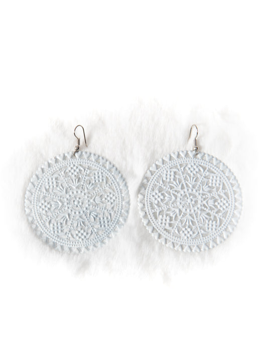 White Cut Out Doily Earrings