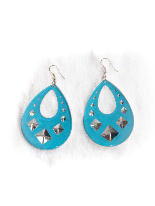 Light Blue and Silver Studded Drop Earrings