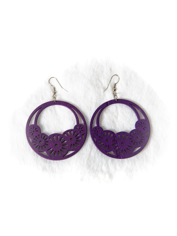 Purple Wooden Cut Out Earrings