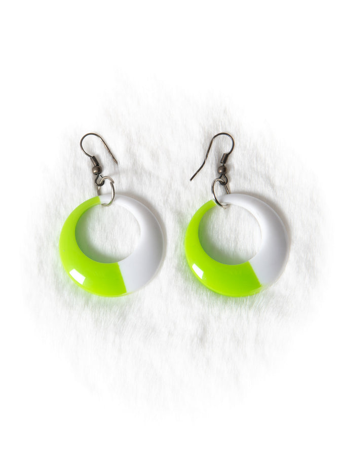 Green and White Hoop Earrings
