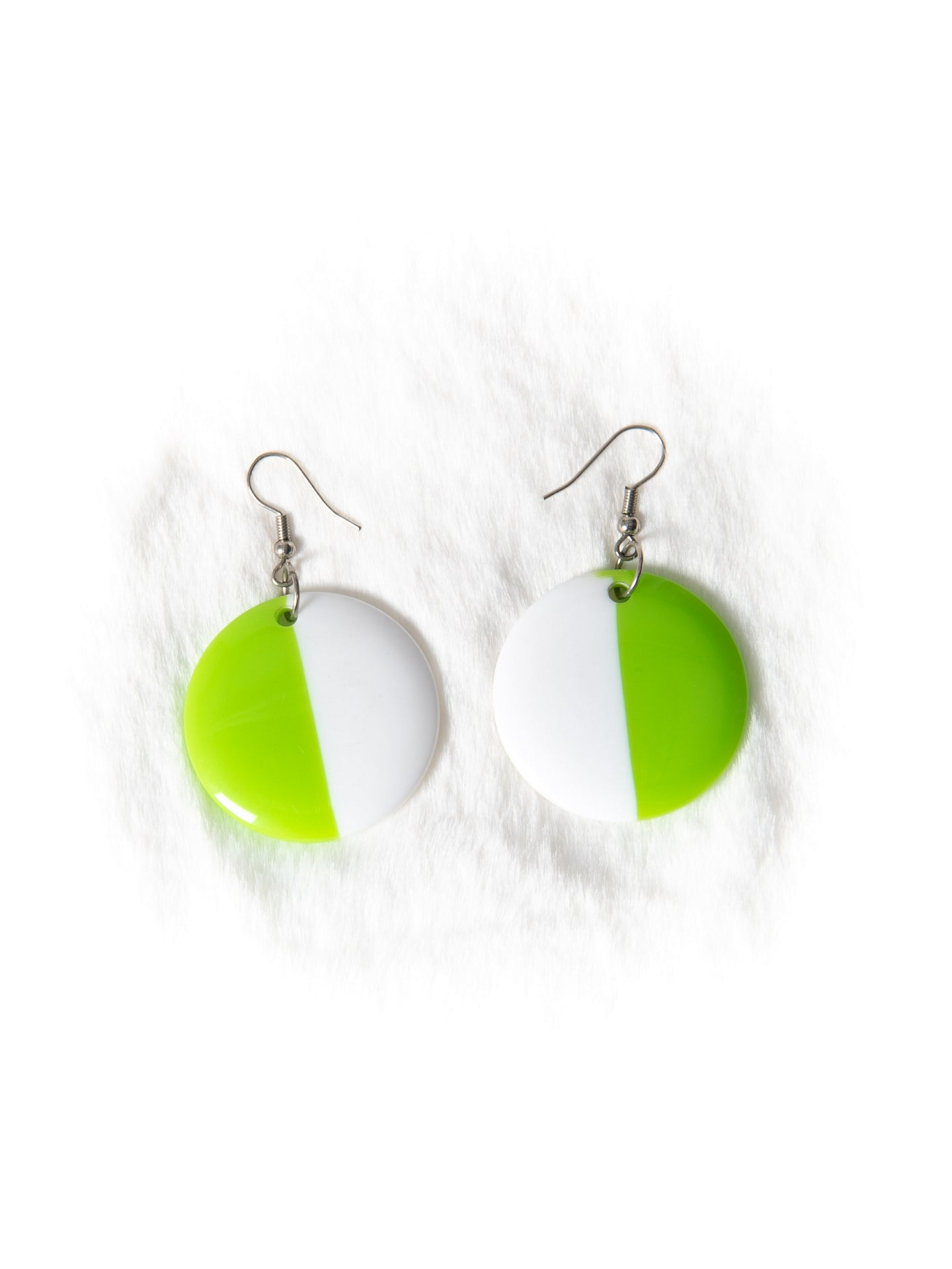Green and White Circle Earrings