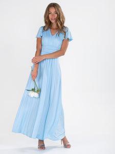 Cap Sleeve Jersey Maxi Dress , Light Blue