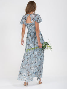 Flare Sleeve Chiffon Maxi Dress, Grey Floral