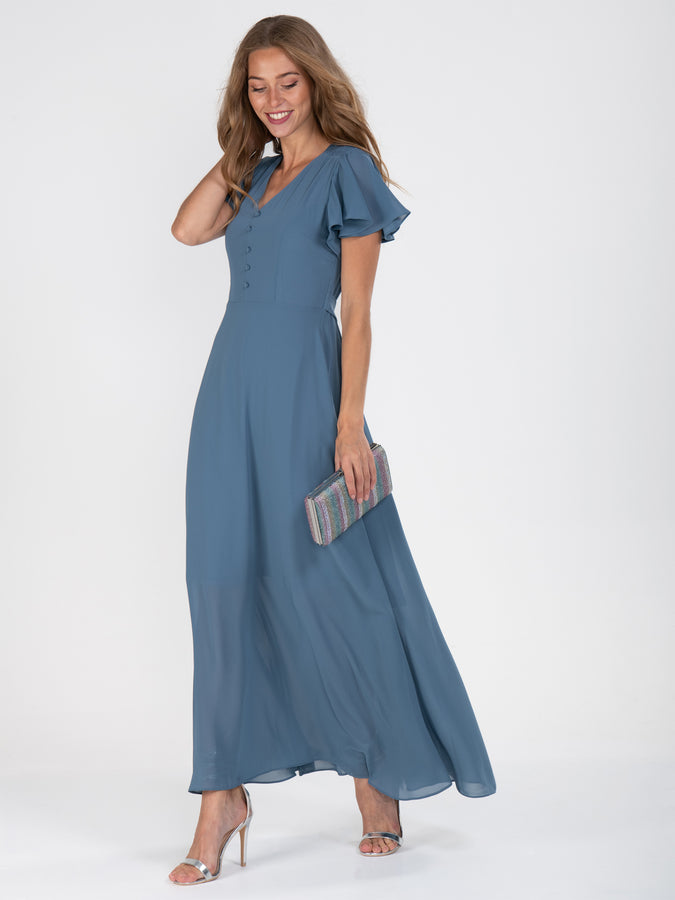 Flare Sleeve Chiffon Maxi Dress, Dark Stomy