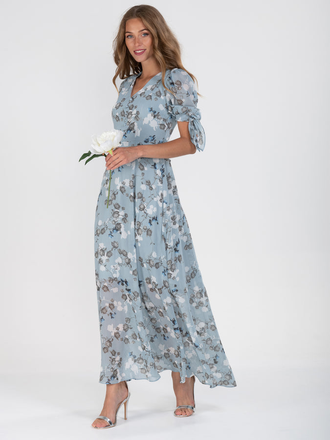 Puff Sleeve Chiffon Maxi Dress, Blue Floral