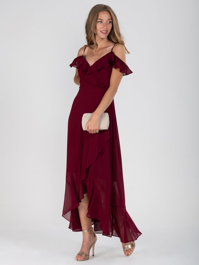 Frill Chiffon Maxi Dress, Burgundy