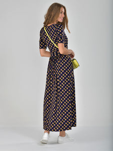 Half Sleeve Wrap Front Maxi Dress, Multi Geo