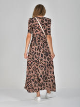 Load image into Gallery viewer, Half Sleeve Wrap Front Maxi Dress, Abstract Multi