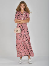 Load image into Gallery viewer, Half Sleeve Wrap Front Maxi Dress, Pink Abstract