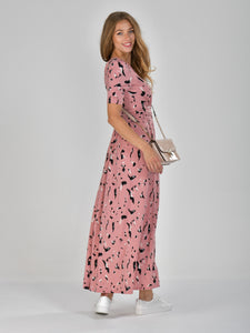 Half Sleeve Wrap Front Maxi Dress, Pink Abstract
