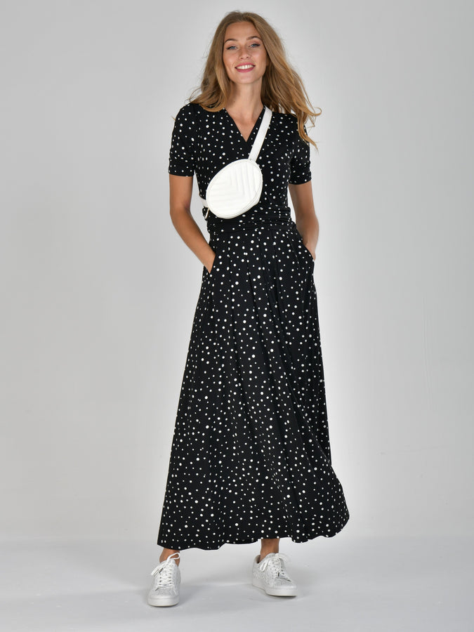 Half Sleeve Wrap Front Maxi Dress, Black Spot