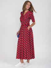 Load image into Gallery viewer, Wrap Front Jersey Maxi Dress, Red Multi