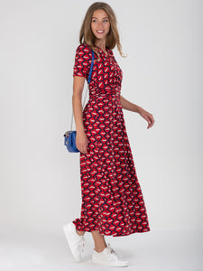 Wrap Front Jersey Maxi Dress, Red Multi
