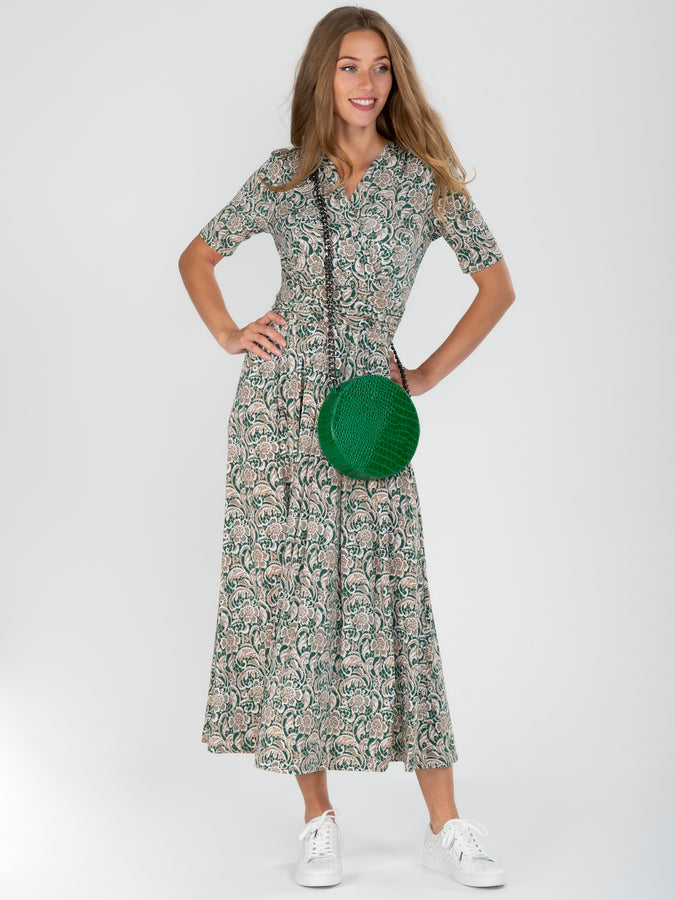 Wrap Front Jersey Maxi Dress, Green Pattern