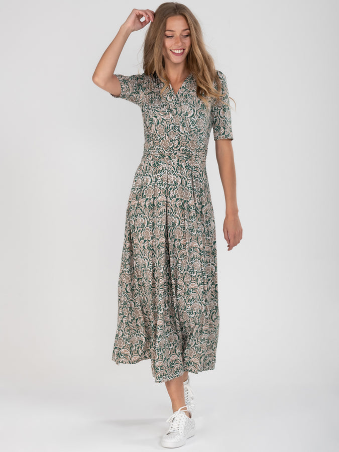PRE-ORDER Wrap Front Jersey Maxi Dress, Green Pattern
