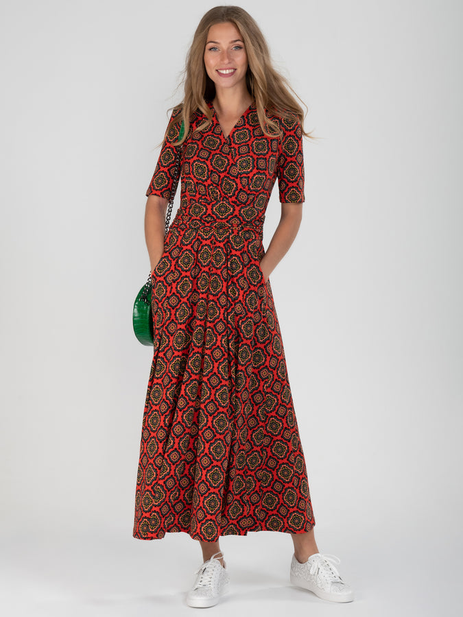 PRE-ORDER Wrap Front Jersey Maxi Dress, Red Pattern