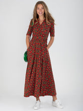 Load image into Gallery viewer, Wrap Front Jersey Maxi Dress, Red Pattern