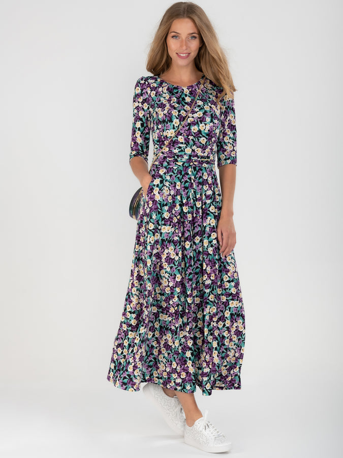 Jolie Moi 3/4 Sleeve Floral Print Jersey Maxi Dress, Purple Floral