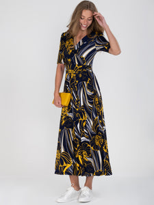 Half Sleeve Wrap Front Maxi Dress