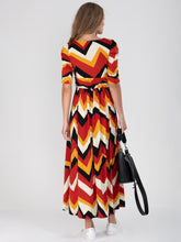 Load image into Gallery viewer, Geometric Print Ruched Sleeve Maxi Dress