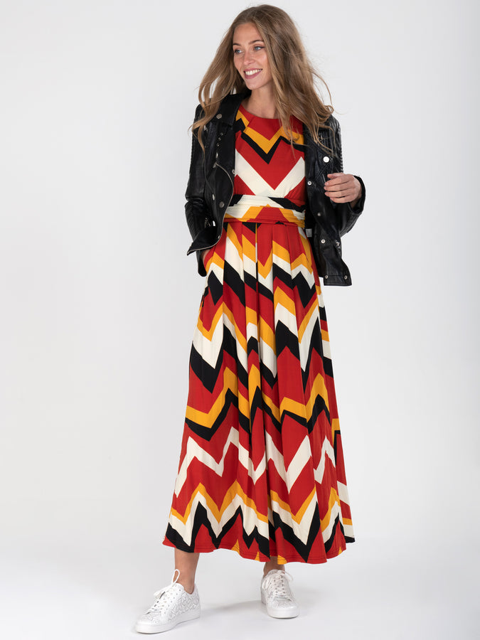Geometric Print Ruched Sleeve Maxi Dress