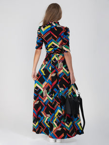 Tie Collar Maxi Jersey Dress, Black Multi