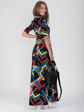 Load image into Gallery viewer, Tie Collar Maxi Jersey Dress, Black Multi