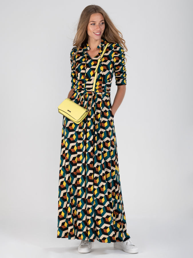 Tie Collar Maxi Dress
