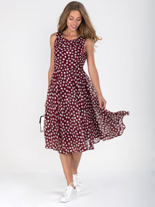 Polka Dot Printed Chiffon Midi Dress, burgundy
