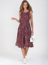 Load image into Gallery viewer, Polka Dot Printed Chiffon Midi Dress, burgundy