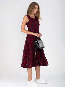 Contrast Lace Midi Dress