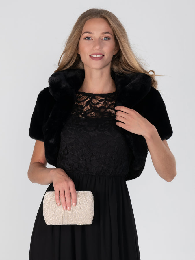 Retro Stand Collar Faux Fur Shrug