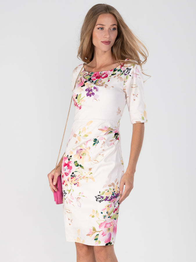Retro Floral Print Half Sleeve Dress, Pink Floral