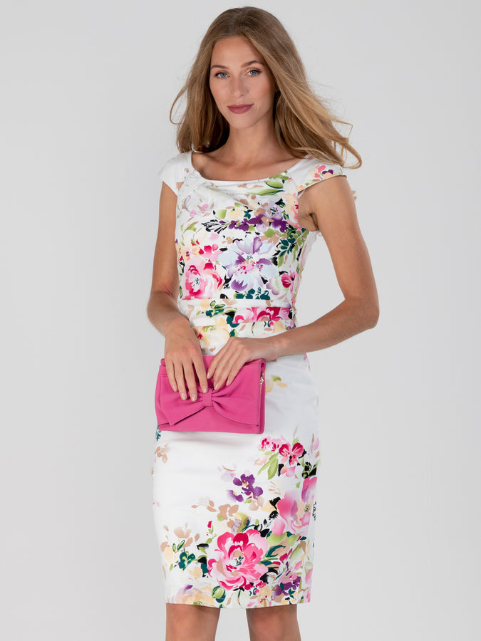 Floral Print Ruched Wiggle Dress