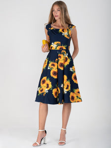 Jolie Moi Retro Floral Print Swing Dress, Navy Floral