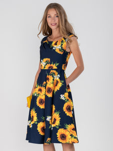Retro Floral Print Swing Dress, Navy Floral
