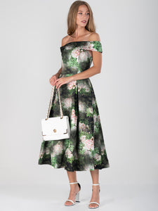 Floral Print Bardot Neck Midi Dress