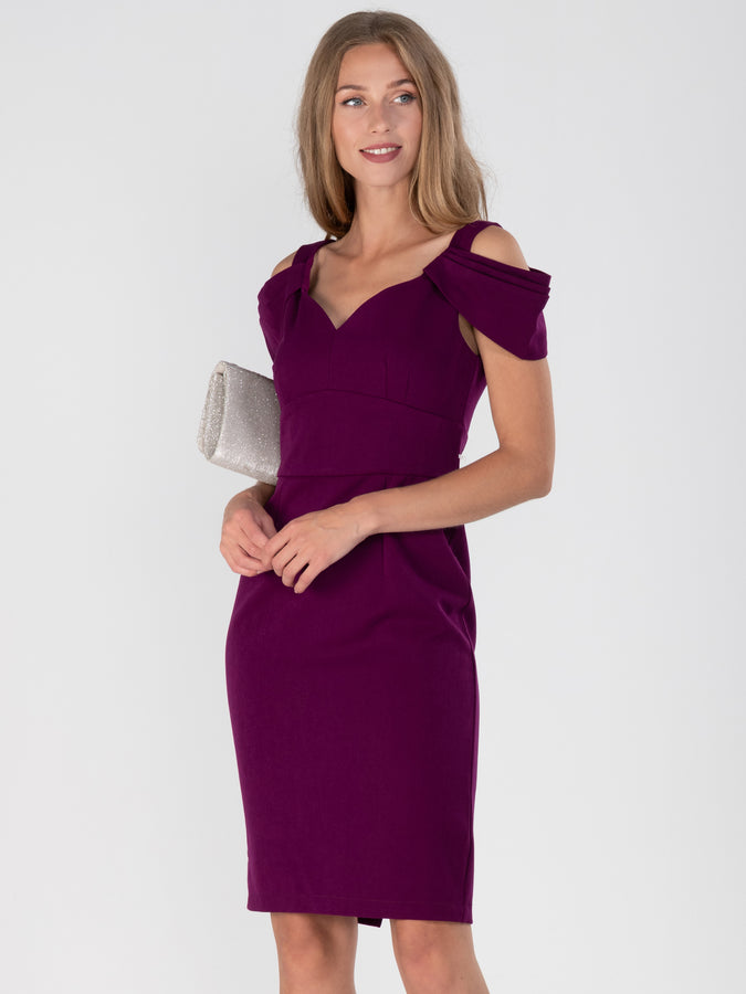 Fold shoulder Shift Bridesmaid Dress