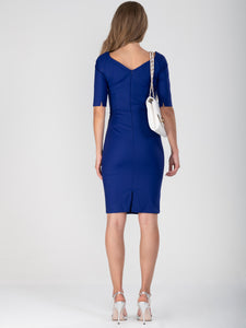 Half Sleeve Ruched Wiggle Dress